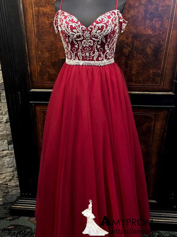Spaghetti Straps Burgundy Long Prom Dress Beaded Prom Dress Modest Evening Dress Formal Gowns AMY2927
