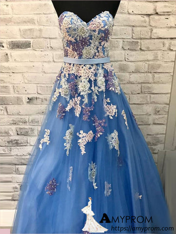 Blue Sweetehart Long Prom Dress With Applique Beaded Prom Dress Beautiful Evening Dress Formal Gowns AMY2928