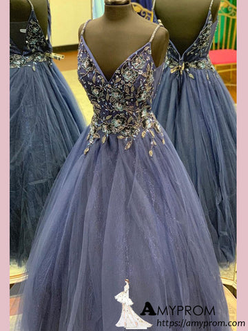 Spaghetti Straps Dark Blue Long Prom Dress With Beaded Sparkly Prom Dress Evening Dress Formal Gowns AMY2929