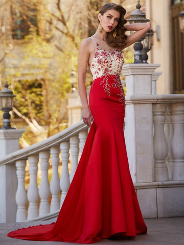 2018 Trumpet/Mermaid Prom Dresses Long Red Chiffon Prom Dress Evening Dresses AMY292