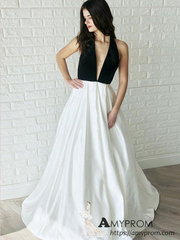 Black Halter Open Back Long Prom Dress White Prom Dress Modest Evening Dress Formal Gowns AMY2934