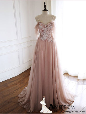 Spaghetti Straps Dusty Pink Long Prom Dress Lace Prom Dress Evening Gowns Formal Dresses AMY2935
