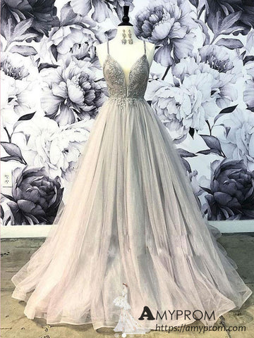 Spaghetti Straps Lace Long Prom Dress Gray Prom Dress Princess Evening Dress Formal Gowns AMY2938