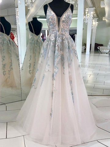 Spaghetti Straps Lace Long Prom Dress Beautiful Floral Prom Dress Evening Gowns Formal Dresses AMY2943