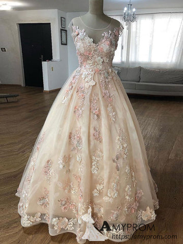 Chic Organza Lace Long Prom Dress Beautiful Scoop Prom Dress Evening Dress Formal Gowns AMY2947