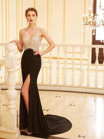 2018 Trumpet/Mermaid Prom Dresses Long Black Chiffon Prom Dress Evening Dresses AMY294