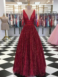 Sparkly Burgundy V neck Long Prom Dress Modest Cheap Prom Dress Evening Gowns Formal Dresses AMY2950