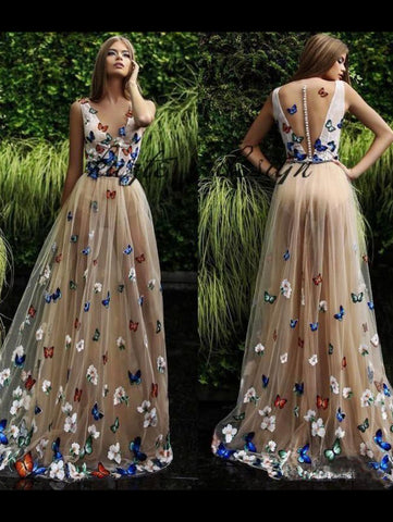 V neck 3d Floral Butterfly Long Prom Dress Princess Prom Dress Evening Gowns Formal Dresses AMY2961