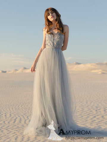 Chic Silver Lace Beaded Long Prom Dress Beautiful Spaghetti Straps Halter Prom Dress Evening Dress Formal Gowns AMY2961