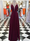 Burgundy Spaghetti Straps Halter Long Prom Dress Simple Cheap Prom Dress Evening Gowns Formal Dresses AMY2962