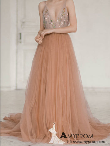 Chic Papaya Lace Beaded Long Prom Dress Beautiful Spaghetti Straps Halter Prom Dress Evening Dress Formal Gowns AMY2964