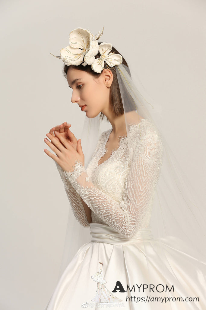 a41fc39e7a0 ... Ball Gowns V neck Lace Wedding Dresses Long Sleeve Romantic Wedding  Dress Bridal Gowns AMY2966 ...