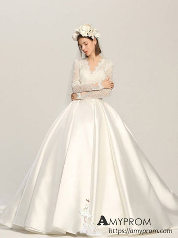 Ball Gowns V neck Lace Wedding Dresses Long Sleeve Romantic Wedding Dress Bridal Gowns AMY2966