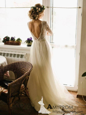 See Through Scoop Lace Wedding Dresses Half Sleeve Romantic Wedding Dress Bridal Gowns AMY2968