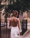 Long Sleeve See Through Backless Wedding Dresses With Beading Romantic Boho Wedding Dress Bridal Gowns AMY2984