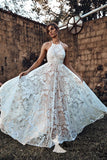 Spaghetti Straps Lace Wedding Dresses Romantic Bohemio Wedding Dress With Straps Bridal Gowns AMY2989