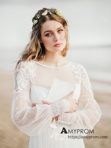 See Through Scoop Beach Lace Wedding Dresses Long Sleeve Romantic Boho Wedding Dress Bridal Gowns AMY3003