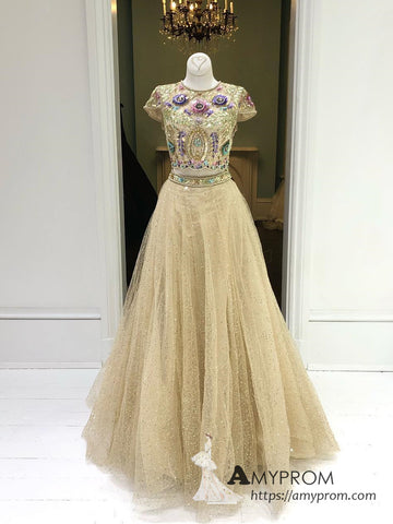 Two Pieces Sparkly Beaded Long Prom Dress Beautiful Gold Scoop Prom Dress Unique Evening Dress Formal Gowns AMY3004