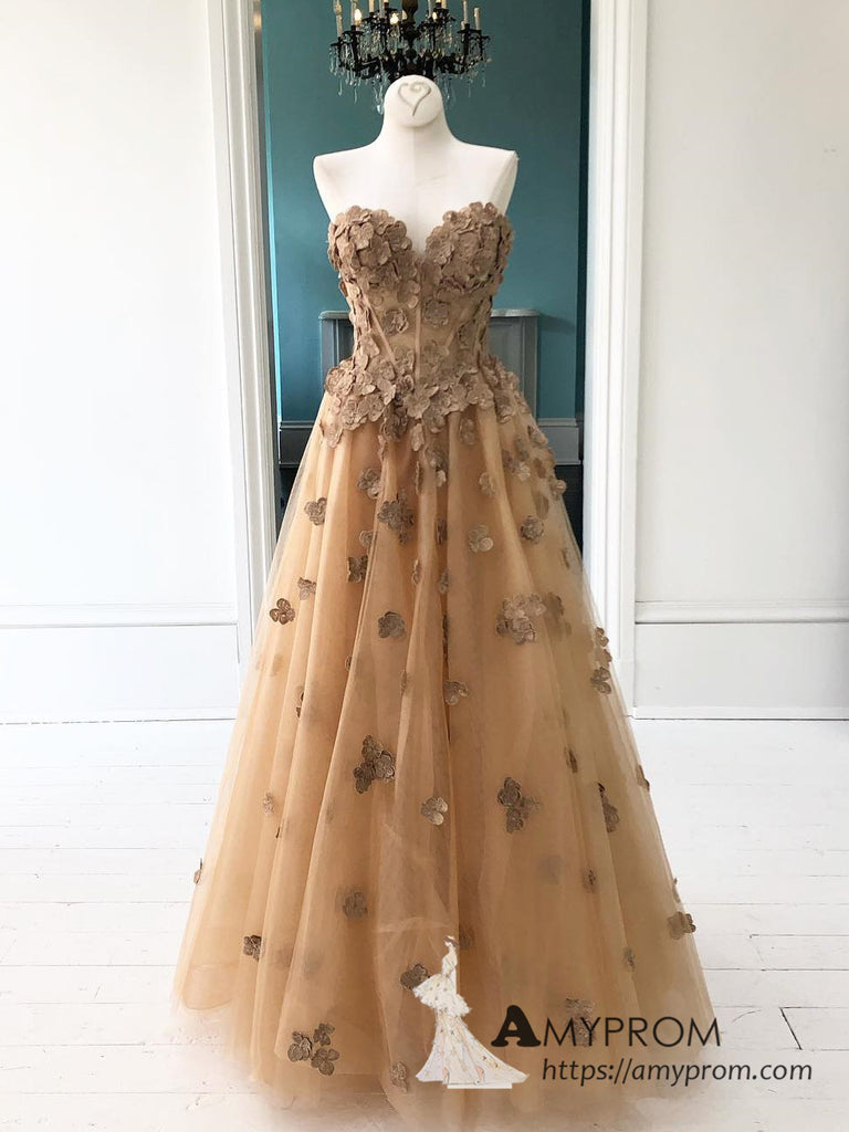Chic Sweetheart 3d Floral Lace Prom Dress Brown Beautiful Long Prom Dress Unique Evening Dress Formal Gowns AMY3005