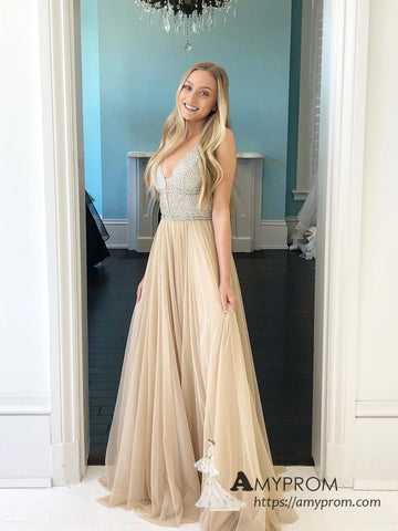 Chic A-line V neck Long Prom Dress Beaded Prom Dress Gorgeous Tulle Evening Dress Formal Gowns AMY3006
