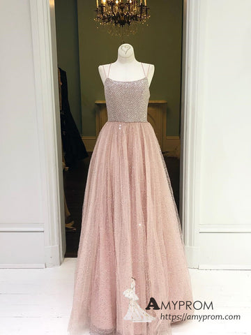 Chic Dusty Pink Spaghetti Straps Sparkly Prom Dress Elegant Long Prom Dress Evening Dress Formal Gowns AMY3008