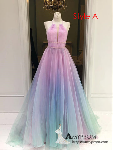 Chic Ombre Spaghetti Straps Long Prom Dress Elegant Prom Dress Evening Dress Formal Gowns AMY3009