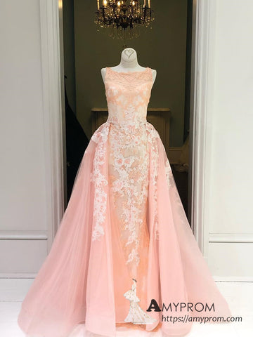 Chic A-line Bateau Neck Long Prom Dress Peach Lace Prom Dress Evening Dress Formal Gowns AMY3010