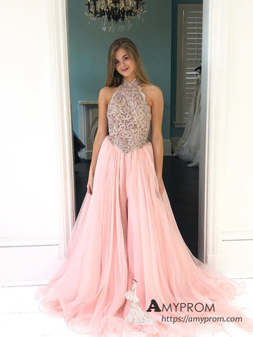 Chic A-line High Neck Long Prom Dress Pink Beaded Prom Dress Elegant Evening Dress Formal Gowns AMY3011