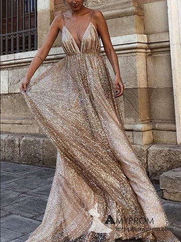 Chic A-line Spaghetti Straps Long Prom Dress Sparkly Backless Prom Dress Elegant Evening Dress Formal Gowns AMY3012