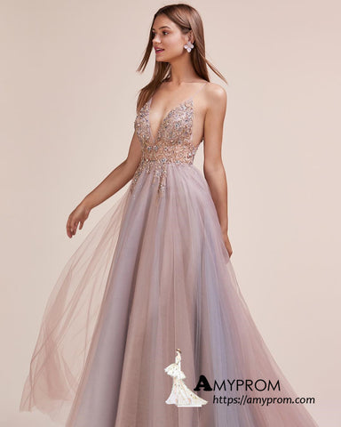 Chic A-line Spaghetti Straps Long Prom Dress Ombre Beaded Prom Dress Gorgeous Evening Dress Formal Gowns AMY3022