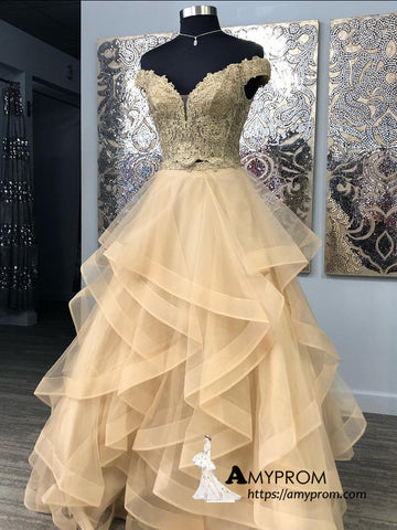 Two Pieces A-line Off-the-shoulder Gold Lace Long Prom Dress Unique Prom Dress Evening Dress AMY3023