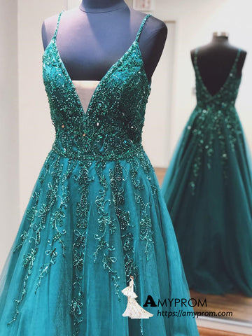 Chic A-line Spaghetti Straps Long Prom Dress Beaded Prom Dress Gorgeous Evening Formal Gowns AMY3025