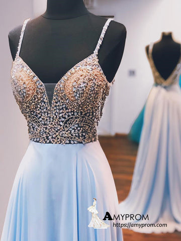 A-line Spaghetti Straps Light Sky Blue Beaded Long Prom Dress Unique Prom Dress Evening Dress AMY3027