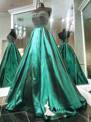 A-line Strapless Dark Green Sparkly Long Prom Dress Beaded Prom Dress Evening Dress AMY3029