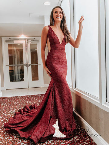 Chic Trumpet/Mermaid Deep V neck Long Prom Dress Beautiful Prom Dress Gorgeous Evening Formal Gowns AMY3033