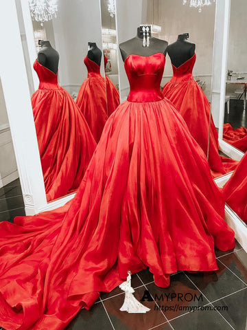 Chic Ball Gown Red Long Prom Dress Sweetheart Sweep/Brush Train Prom Dress Gorgeous Evening Formal Gowns AMY3034