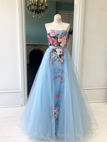 Chic A-line Strapless Light Sky Blue Long Prom Dress Beautiful Beaded Prom Dress Evening Formal Gowns AMY3035