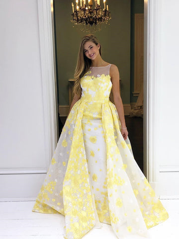 Chic A-line Bateau Daffodil Long Prom Dress Beautiful Beaded Applique Prom Dress Evening Formal Gowns AMY3036