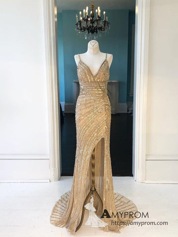 Chic Sheath/Column Spaghetti Straps Gold Long Prom Dress Slit Beautiful Prom Dress Gorgeous Evening Formal Gowns AMY3037