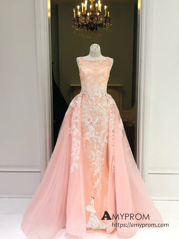 Chic A-line Bateau Lace Long Prom Dress Beautiful Prom Dress Blush Evening Formal Gowns AMY3038