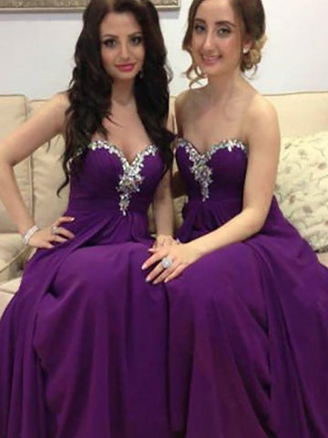 2018 A-line Prom Dresses Chiffon Sweetheart Grape Cheap Prom Dresses Bridesmaid Dress AMY303