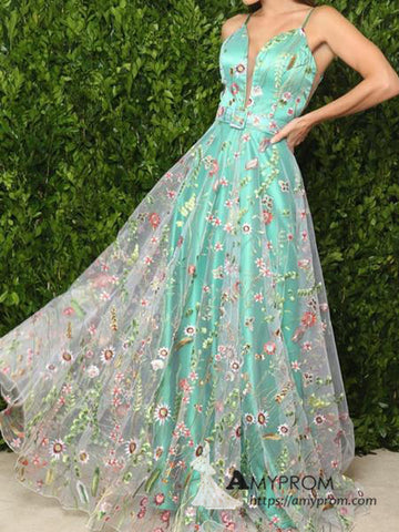 Chic A-line Spaghetti Straps Green Long Prom Dress Beautiful Prom Dress Boho Evening Formal Gowns AMY3040