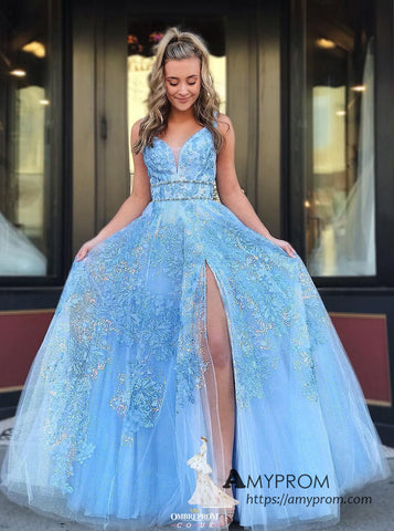 Chic A-line Straps Blue Long Prom Dress Lace Beaded Prom Dress Gorgeous Evening Gowns Formal Dress AMY3044