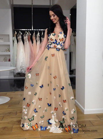 Chic A-line V neck Gold Long Prom Dress Beautiful Butterfly Prom Dress Evening Formal Gowns AMY3045