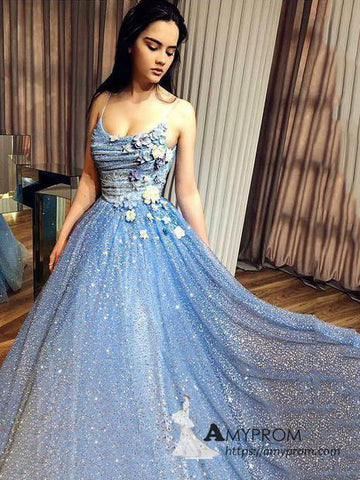 Chic A-line Spaghetti Straps Blue Long Prom Dress Sparkly Beaded Prom Dress Evening Formal Gowns AMY3047