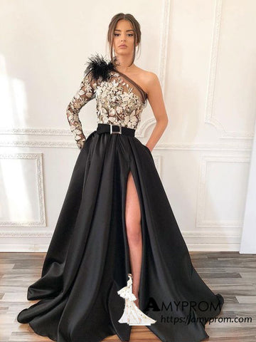 Black One Shoulder Long Prom Dresses with Pocket Long Sleeve Elegant Prom Dress With Slit Evening Gowns AMY3058