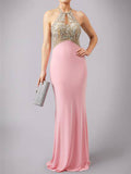 2018 Sheath/Column Prom Dresses Long Cheap Chiffon Pink Prom Dress Evening Dresses AMY305