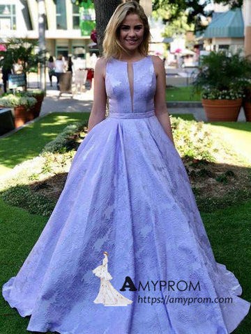 Cheap Lilac Long Prom Dresses with Pockets Jacquard Prom Ball Gown Evening Gowns AMY3064