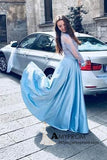 Two Pieces Blue Long Prom Dresses with Long Sleeve Lace Prom Dress Ball Gown Evening Gowns AMY3065