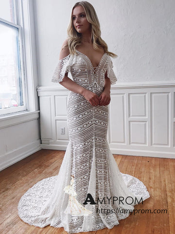 Trumpet/Mermaid Spaghetti Straps Ivory Lace Long Prom Dresses Open Back African Prom Dress Evening Gowns AMY3069